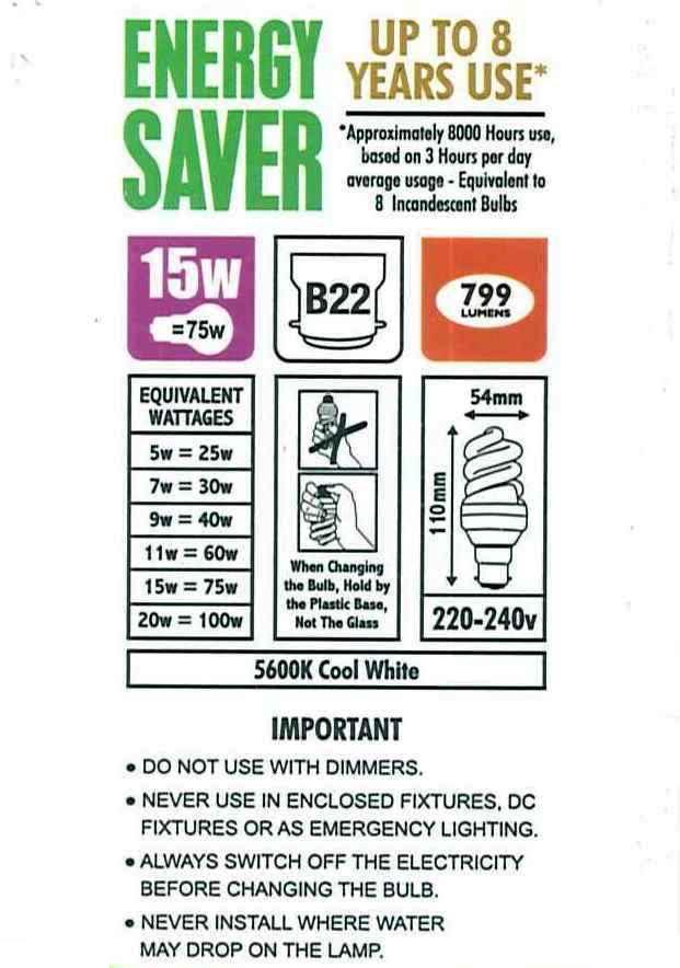 4x 15w basso consumo luce bianca cfl lampadine set 5600k - Le nuove lampadine ...