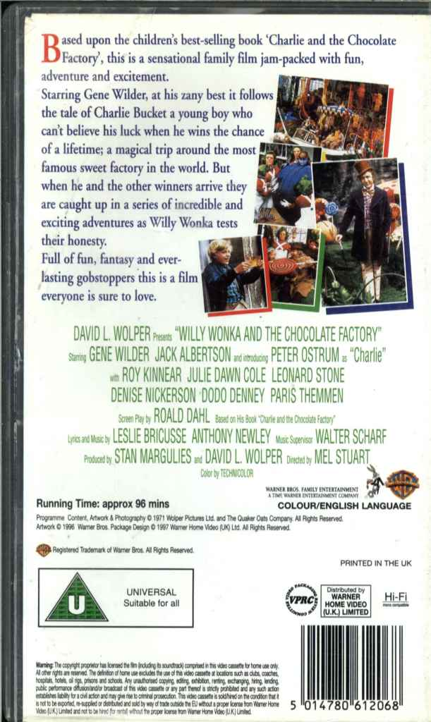 Willy Wonka And The Chocolate Factory Vhs Willy Wonka & T...