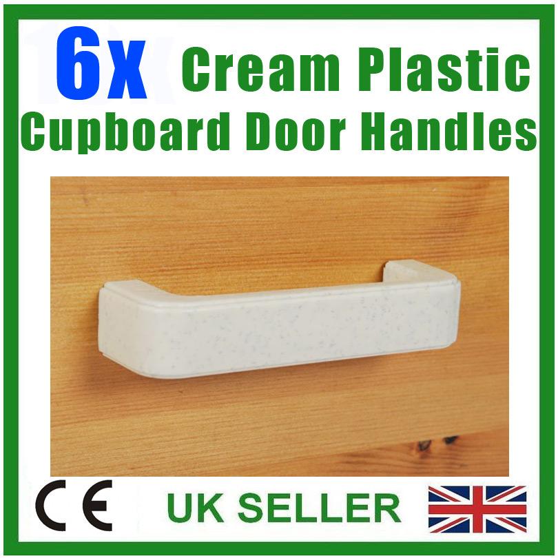 6x Cream Plastic Kitchen Furniture Cupboard Drawer Cabinet Door Pull Handles Ebay