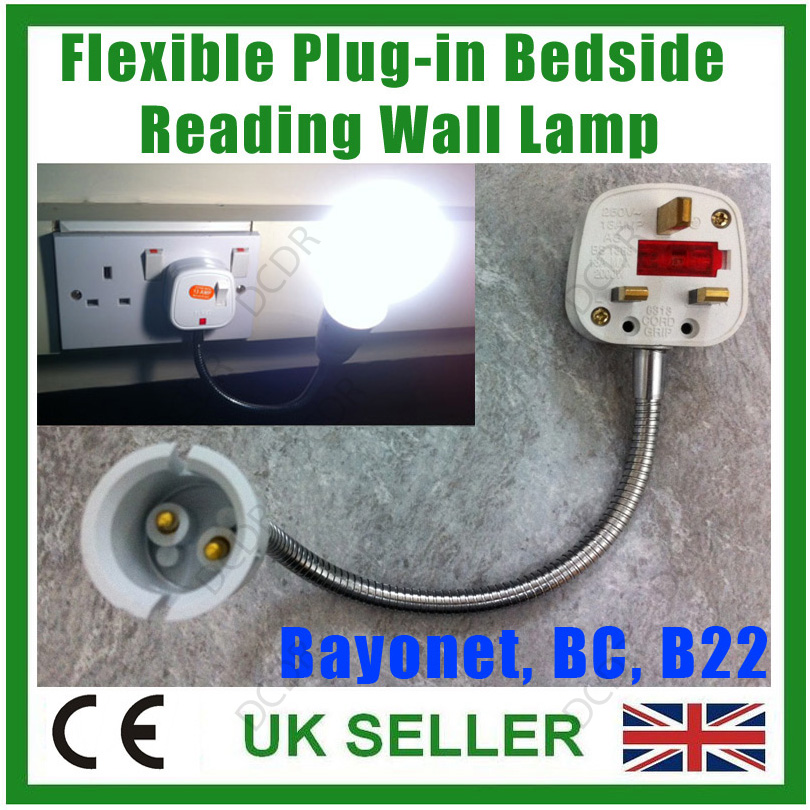 300mm Flexible Plug-in Orientational Bedside Reading Spot Light Wall Lamp B22 BC eBay