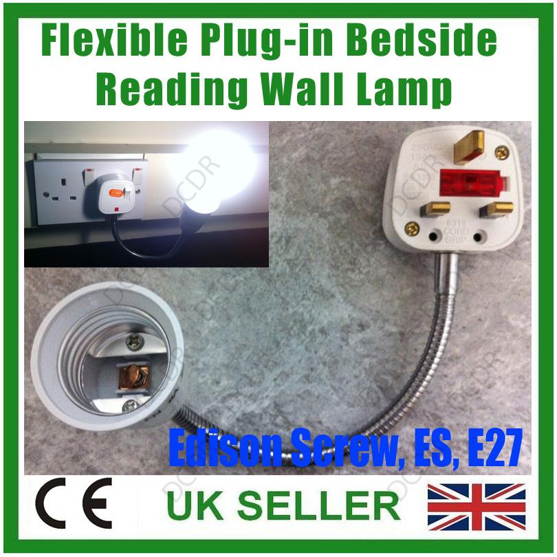 300mm Flexible Plug-in Orientational Bedside Reading Spot Light Wall Lamp E27 ES eBay