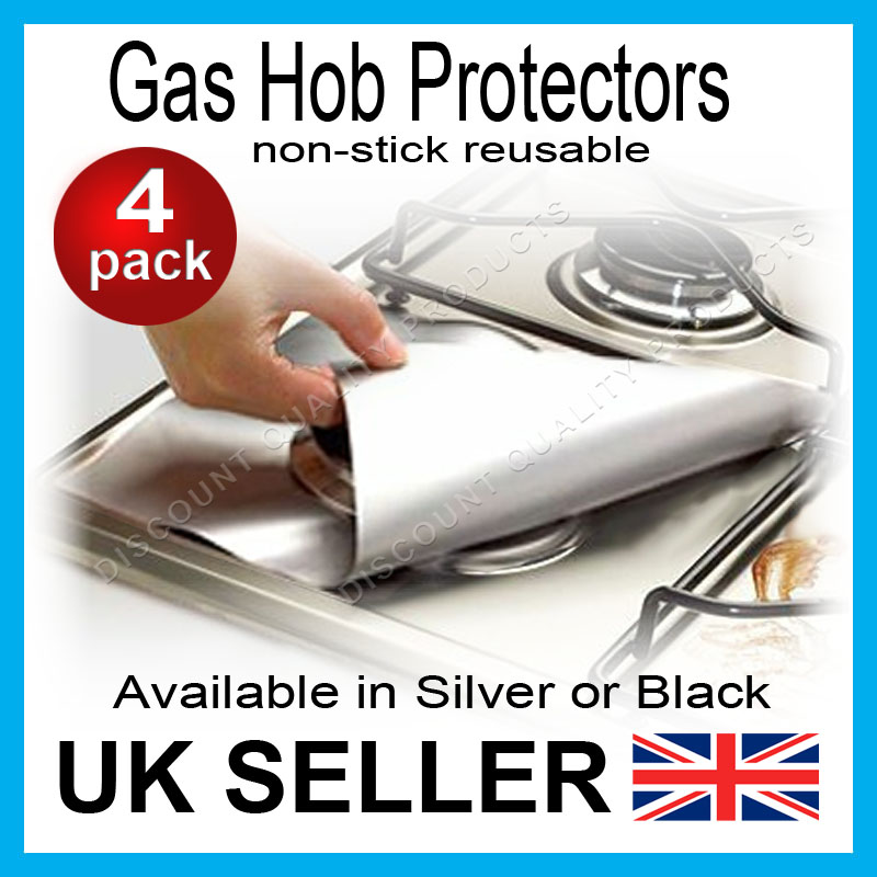 4x gas hob protector liners reusable non stick silicone dishwasher safe silver ebay. Black Bedroom Furniture Sets. Home Design Ideas