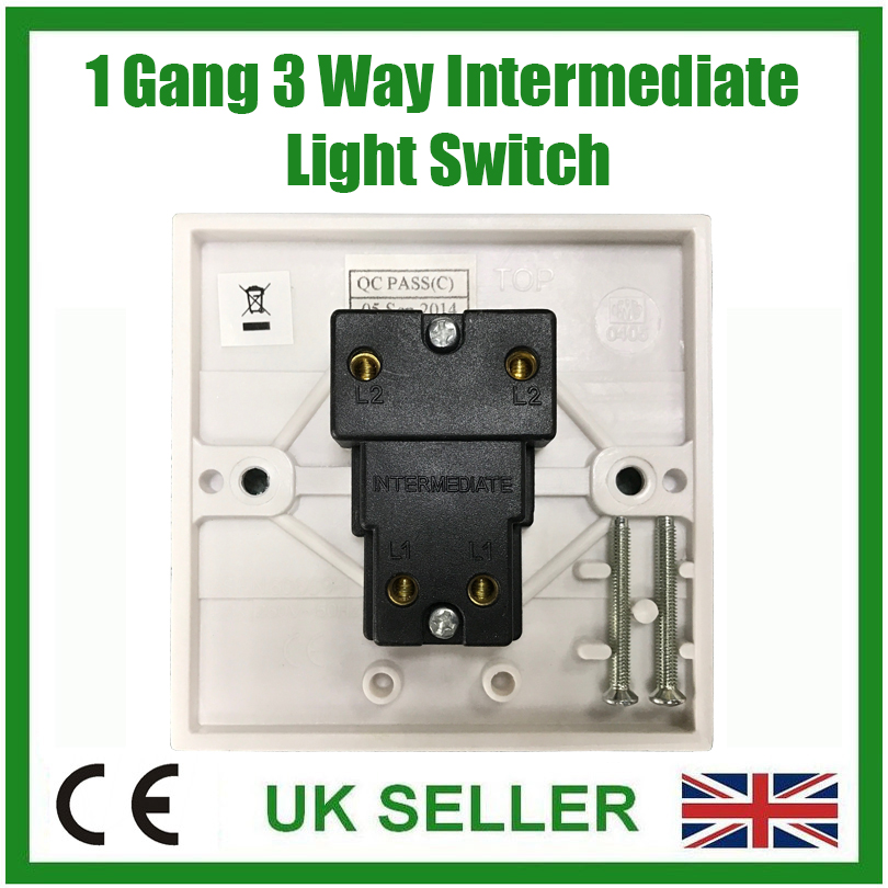 White 1 Gang 3 Way Intermediate Mains Wall Light Lamp