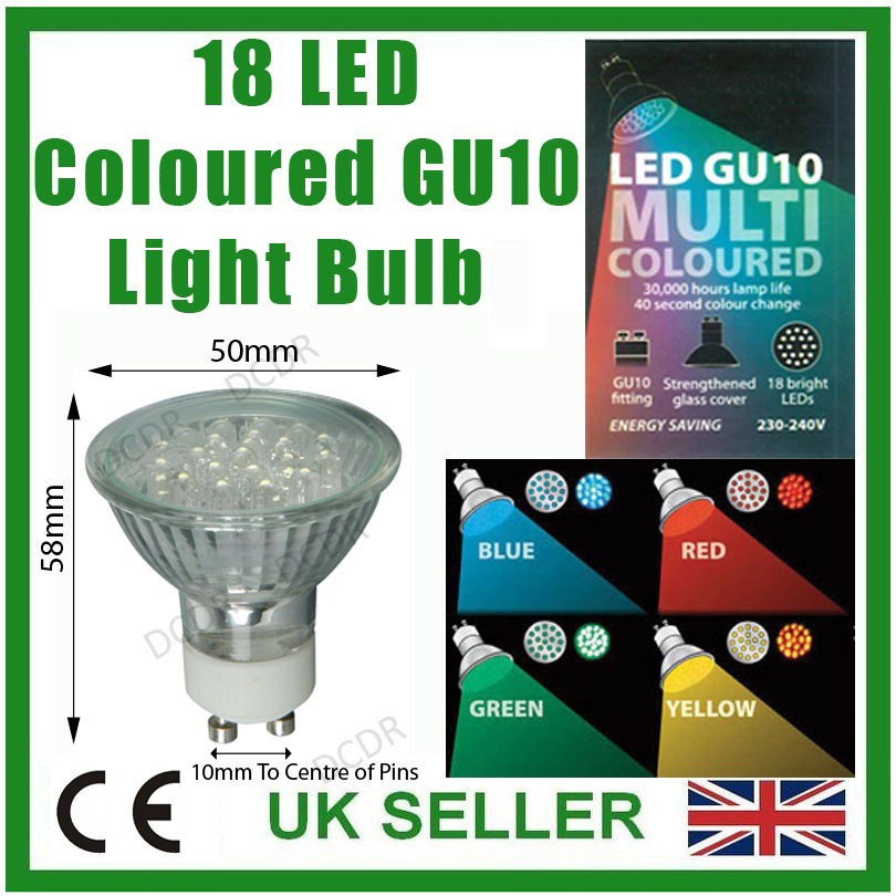 18 led gu10 farbig spot gl hlampen rot blau gelb gr n farb ver ndernd leuchte ebay. Black Bedroom Furniture Sets. Home Design Ideas