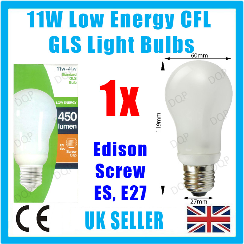 1x 11w Low Energy Power Saving Cfl Light Bulb Gls Es E27 Edison Screw Lamp Globe Ebay
