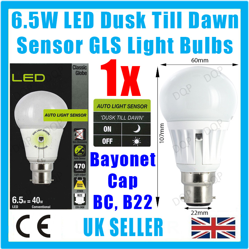 6 5w 40w led gls dusk till dawn sensor security night. Black Bedroom Furniture Sets. Home Design Ideas