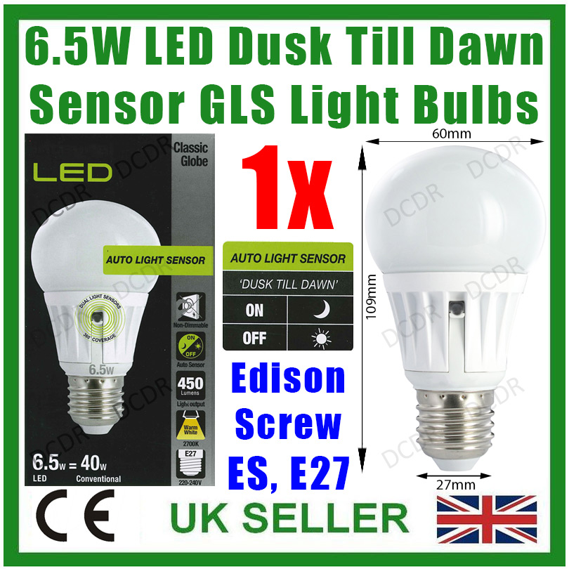 6 6w 40w led gls dusk till dawn sensor security night. Black Bedroom Furniture Sets. Home Design Ideas