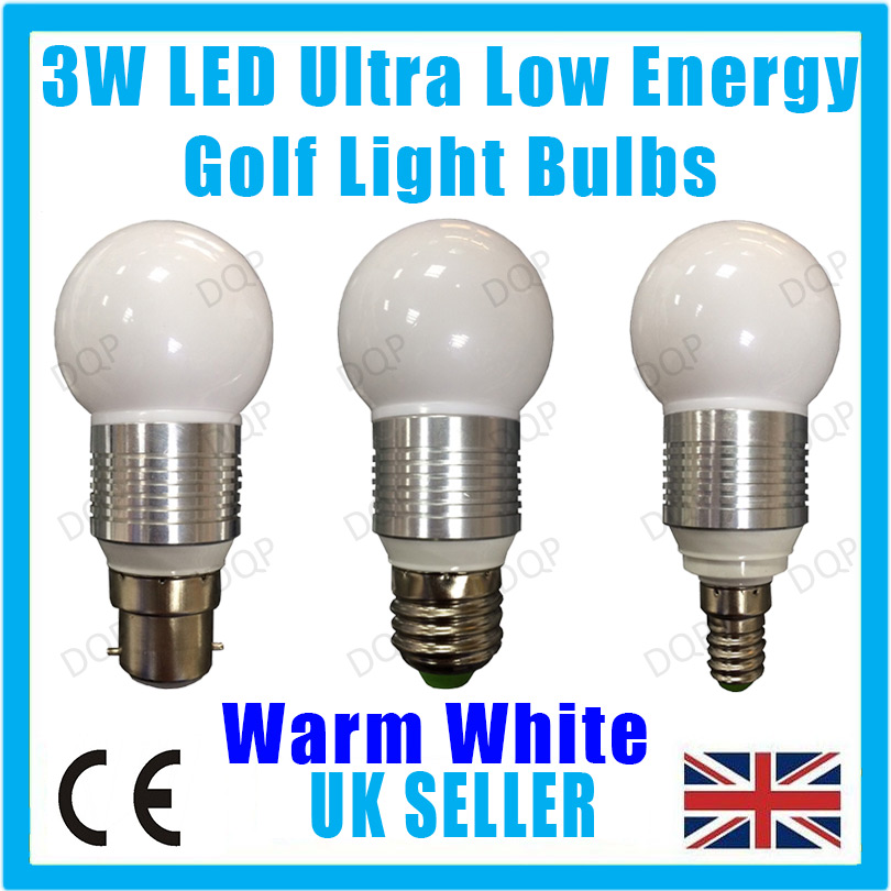 2x 3w Led Ultra Low Energy Warm White Golf Light Bulbs B22 E27 Or E14 Lamps