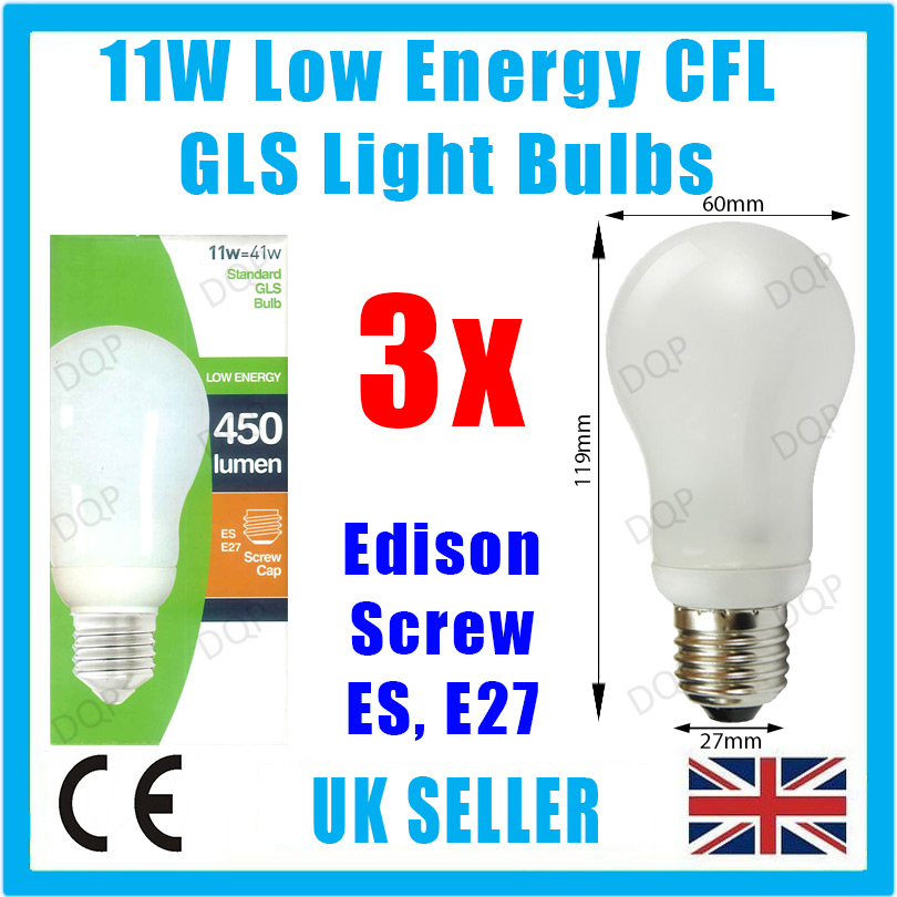 3x 11w Low Energy Power Saving Cfl Light Bulb Gls Es E27 Edison Screw Lamp Globe Ebay