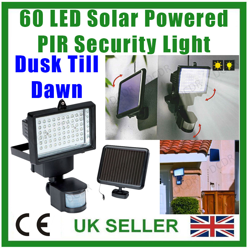 lampe 60 led solar sicherheitslicht mit sensor. Black Bedroom Furniture Sets. Home Design Ideas