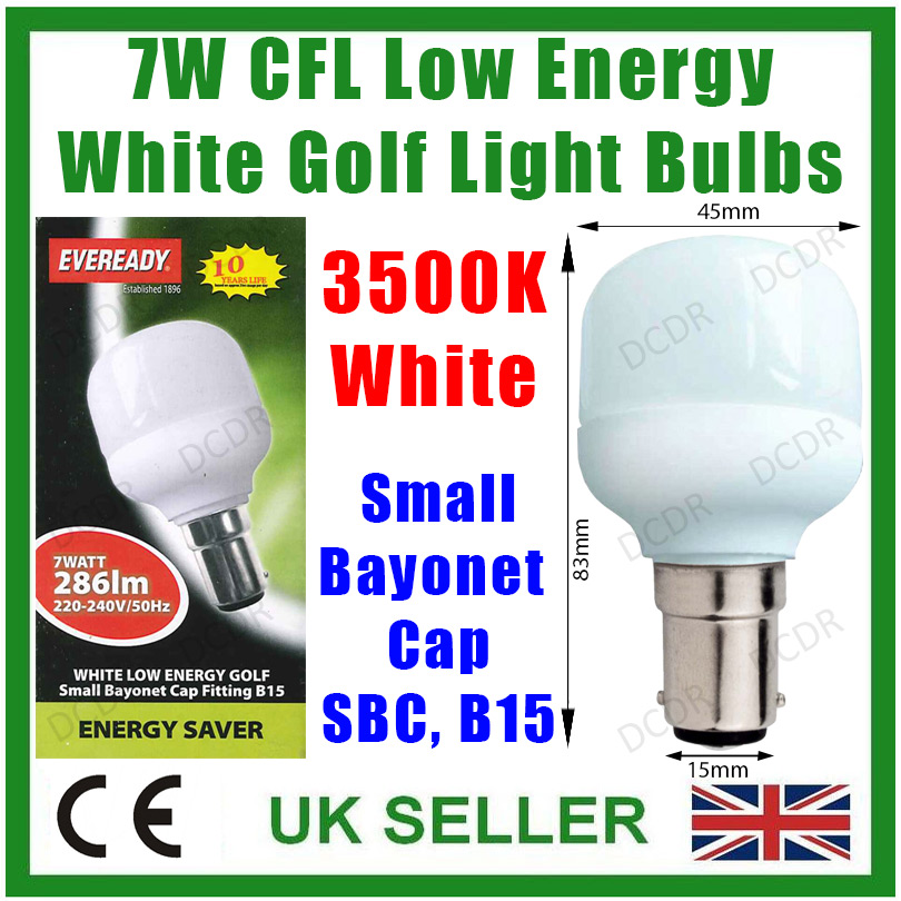 4x 7w Low Energy Cfl Mini Golf 3500k Cool White Light Bulbs Sbc B15 Lamps Ebay
