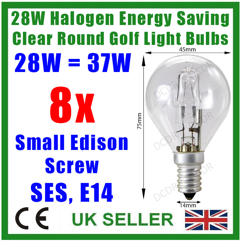 8x 28w 37w Halogen Dimmable Clear Round Golf Energy Saving Light Bulbs Ses E14