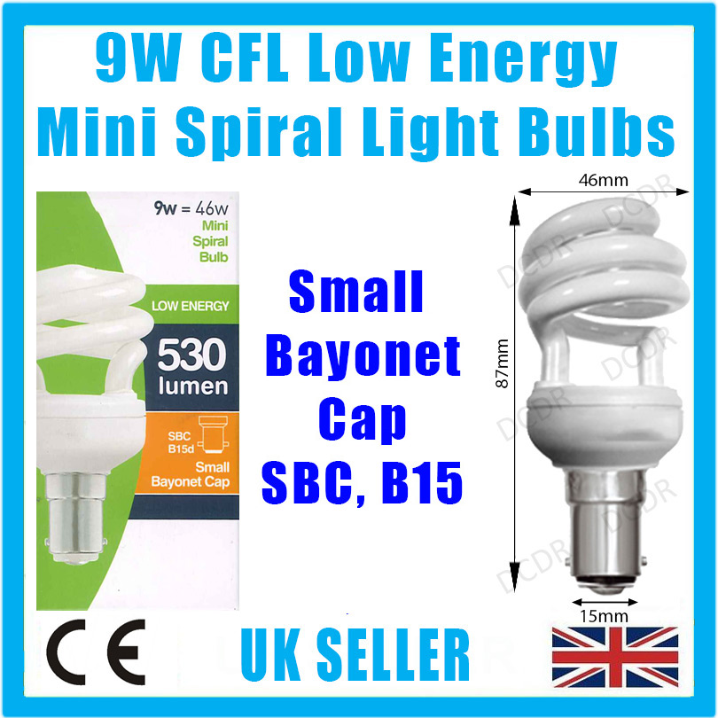 10x 9w Low Energy Power Saving Cfl Mini Spiral Light Bulbs Sbc B15 B15d Lamps Ebay