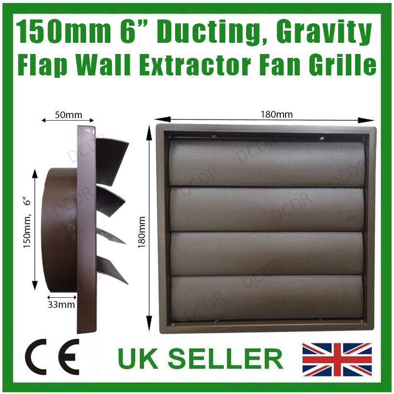 150mm 6 Quot Ducting Brown Gravity Flap Wall Kitchen Extractor