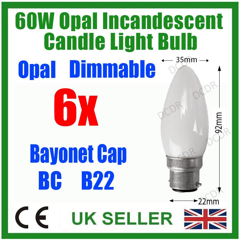 6x 60w opal dimmbar kerzen licht lampen 2000 hours bajonett bc b22 leuchte ebay. Black Bedroom Furniture Sets. Home Design Ideas