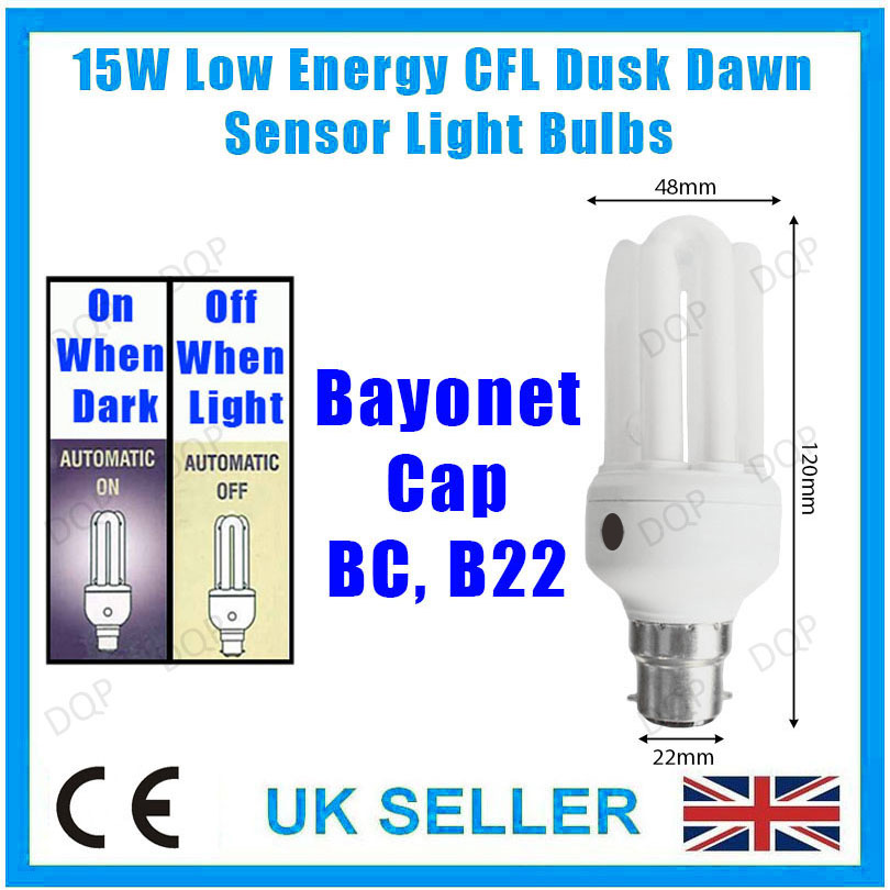 4x 15W LOW ENERGY CFL DUSK DAWN SENSOR LIGHT BULBS BC BAYONET B22 SECURITY LA