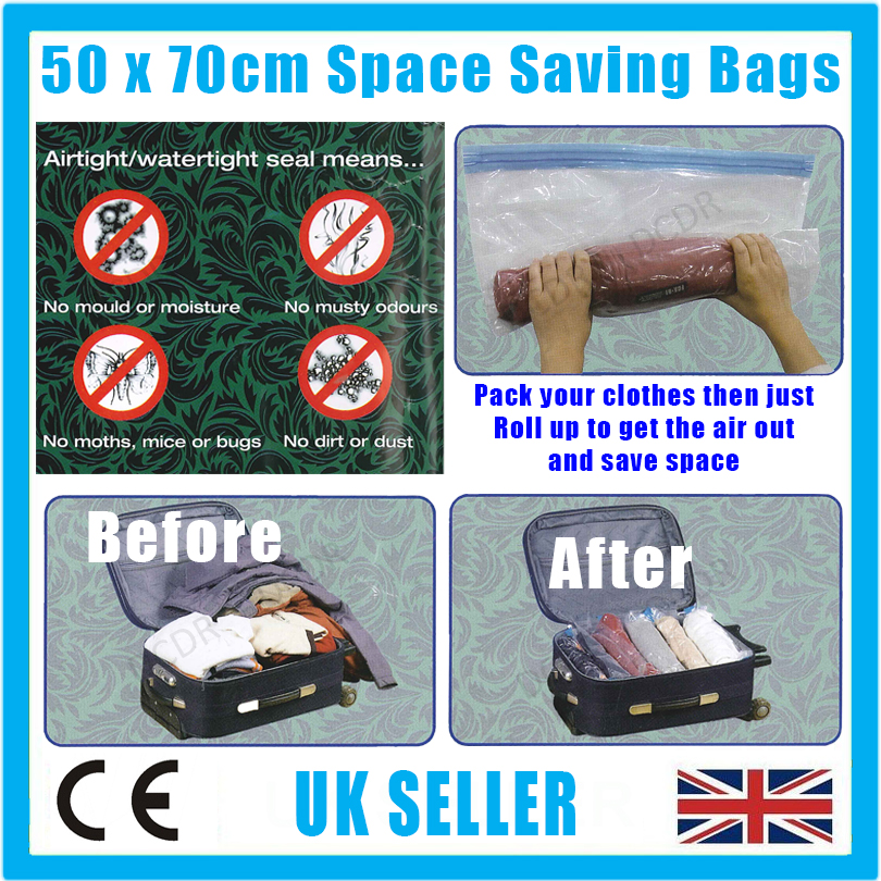 2x 50x70cm Roll Up Space Saving Travel Vacuum Seal Bags