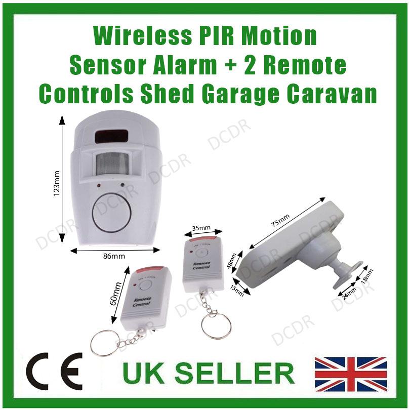 Barn Light With Pir Sensor: Wireless PIR Motion Sensor Alarm + 2 Remote Controls Shed