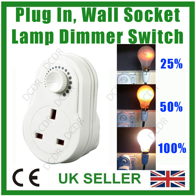 variable current adaptor plug in 3 pin uk socket converter lamp dimmer swit. Black Bedroom Furniture Sets. Home Design Ideas