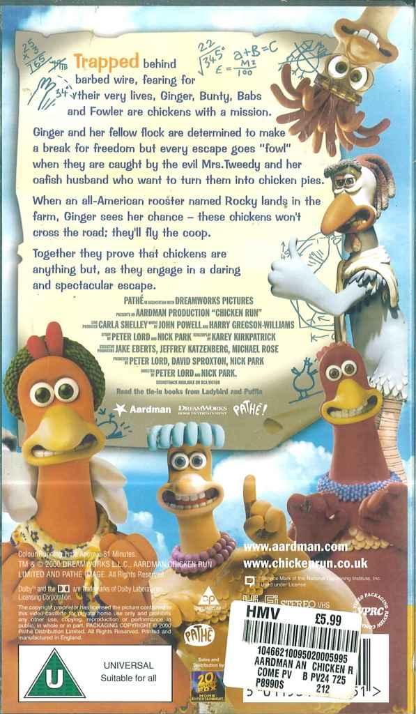 Chicken Run Vhs Video Tape Julia Sawalha Mel Gibson