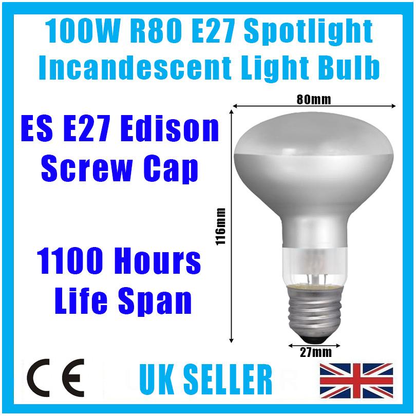 10x 100W R80 Reflector Incandescent Spot Light Bulb E27 Edison Screw Heat Lamp Home, Furniture & DIY