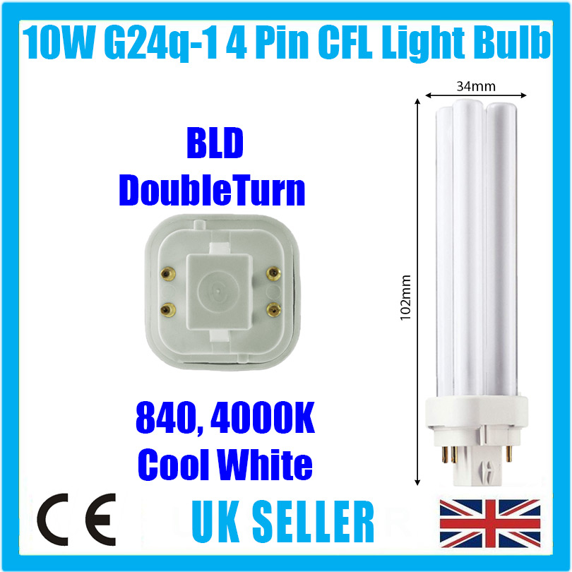 8X 18 W G24Q-2 4 pin à Basse Consommation Cfl Bld Double Tourner Ampoule Lampe Blanc Cool