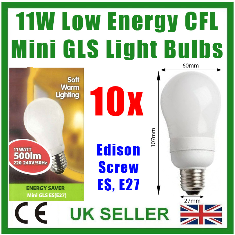 10 X 12W Low Energy Bulbs CFL GLS ES E27 standard27mm Screw Saving Lamp