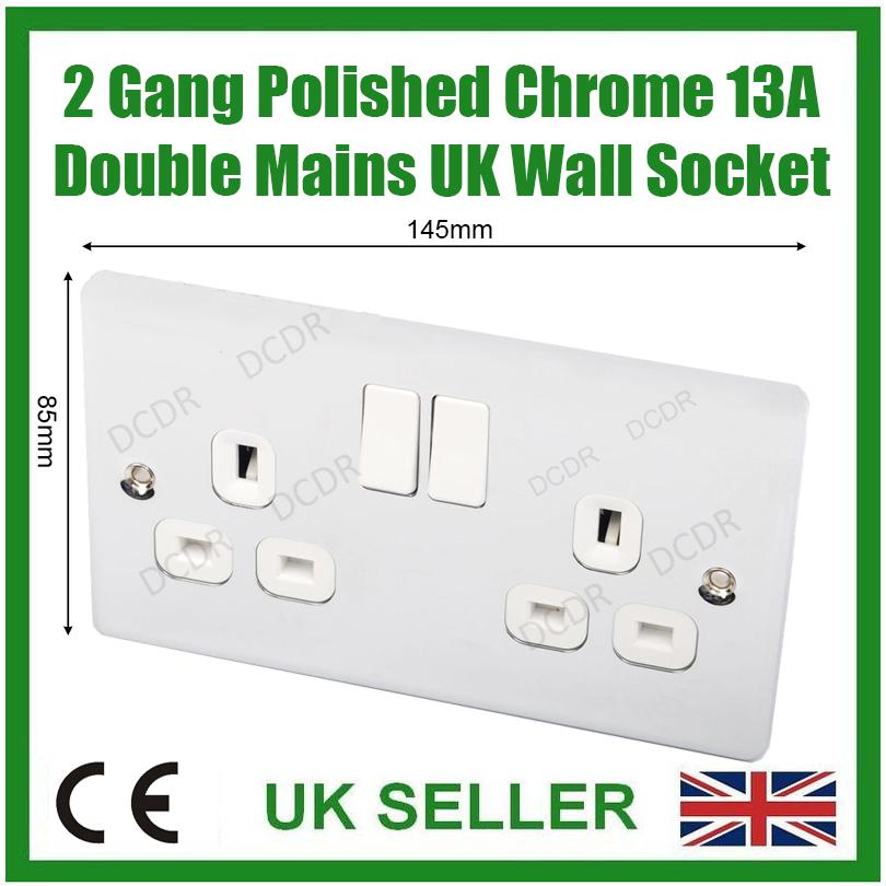 Varilight 2 Gang 13 Amp commuté Prise Avec USB 2 Port de charge chrome poli