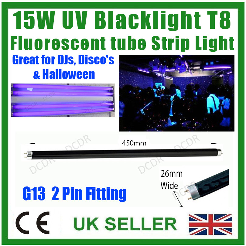 "4x 15W T8 UV Ultraviolet Blacklight 18/"" Tube Light DJ Disco Halloween BLB Lamp"