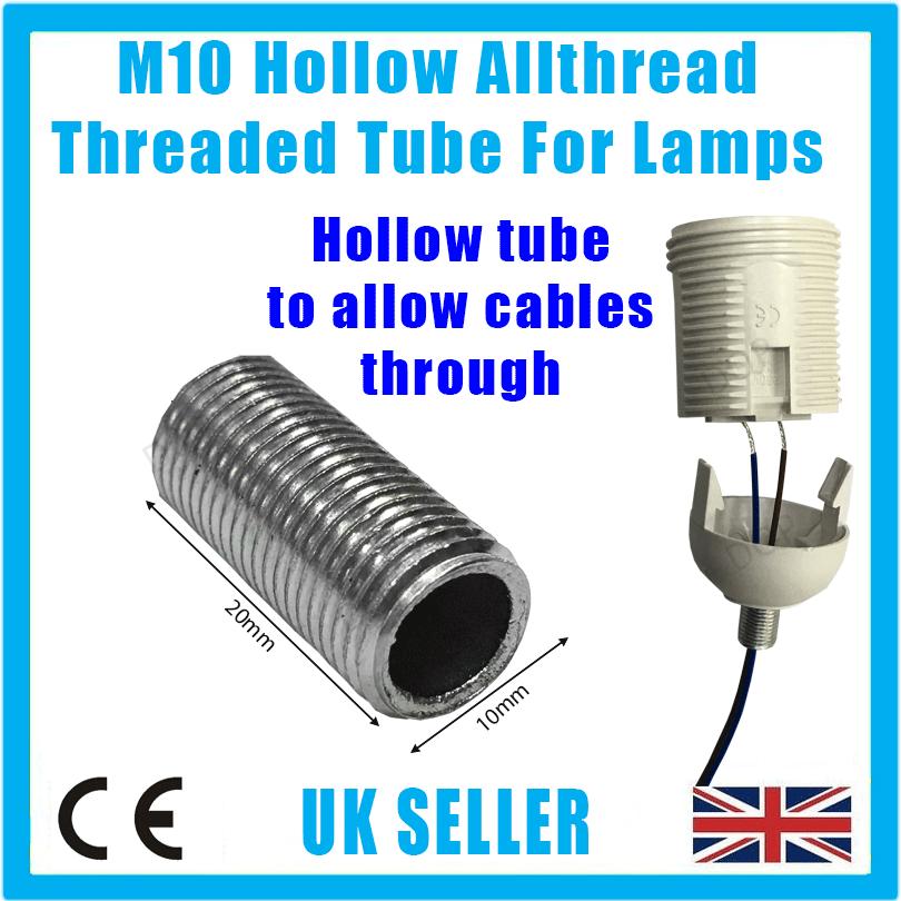 5x M10 20mm x 10mm allthread creux tige filetée tube for electrical lamp socket