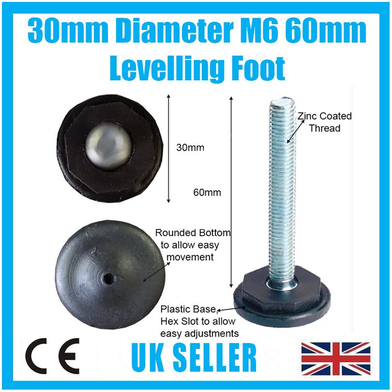 Adjustable Levelling Feet Foot 30mm x 60mm M6 Thread Table Desk Cabinet Cupboard