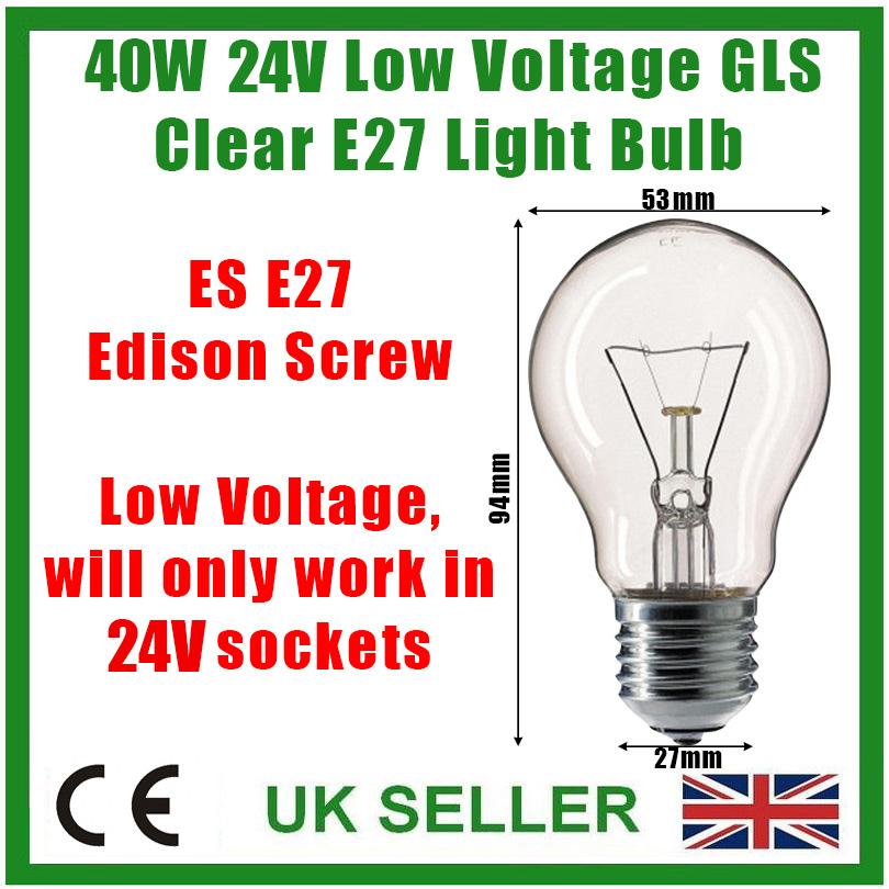 12x 40W 24V Basse Tension GLS Transparent à Variation Es E27 Vis Edison Ampoule