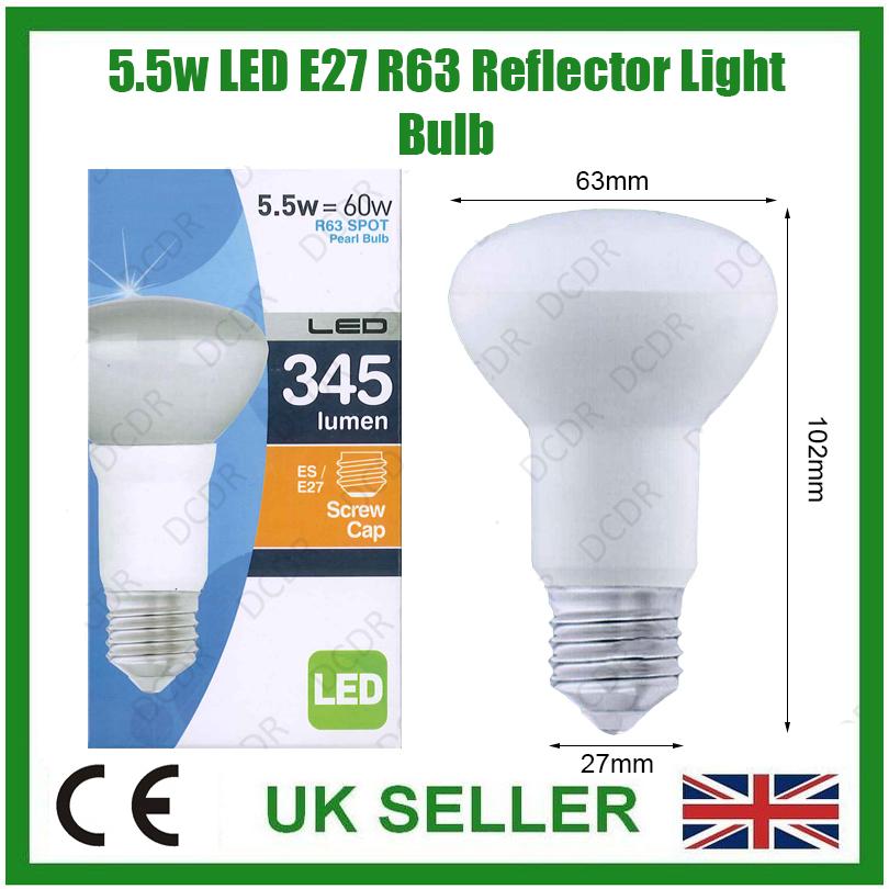 1 x 5 5w r63 del basse consommation perle r flecteur spot ampoule es e27 lampe ebay. Black Bedroom Furniture Sets. Home Design Ideas