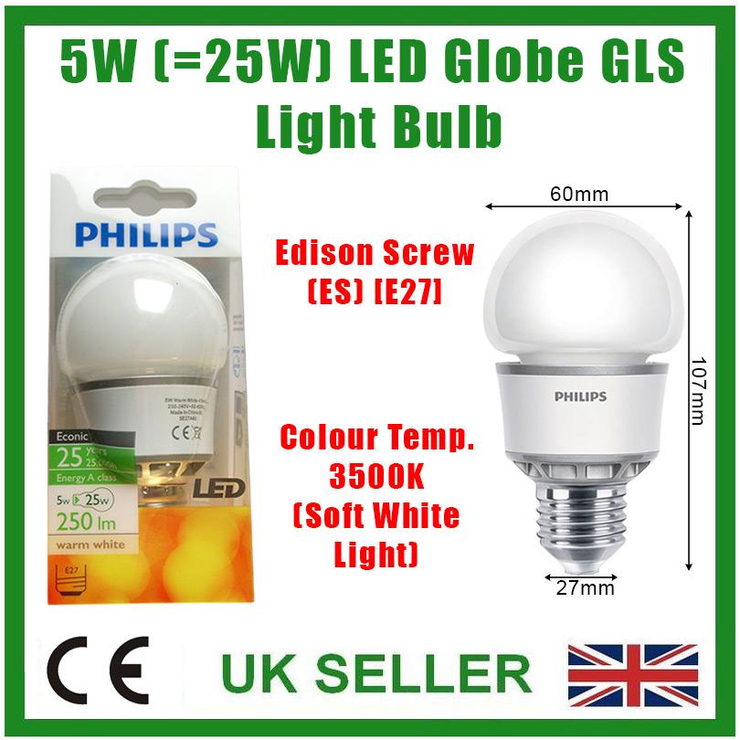 1x 5 W DEL A60 Globe GLS Ampoule ES E27 économie d/'énergie Lampe 210 lm = 25 W