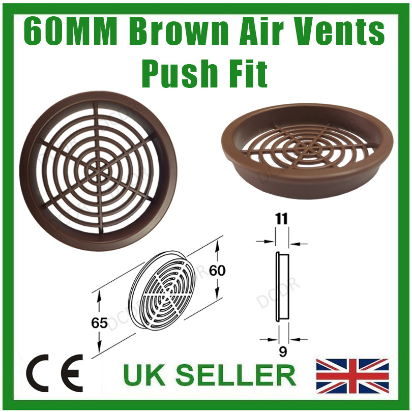 10x Brown Roof Soffit Round Air Vents Eaves Grille 60mm