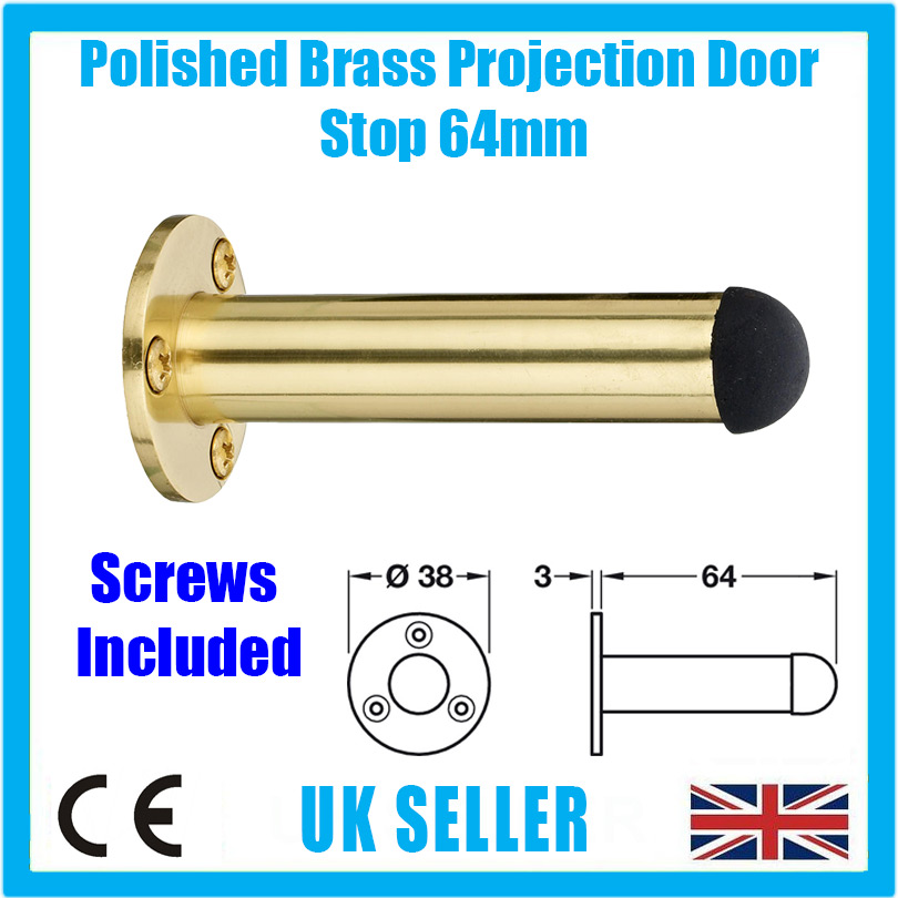 Wall Mount Protector 78mm 1x Brass Plated Spring Projection Door Stop