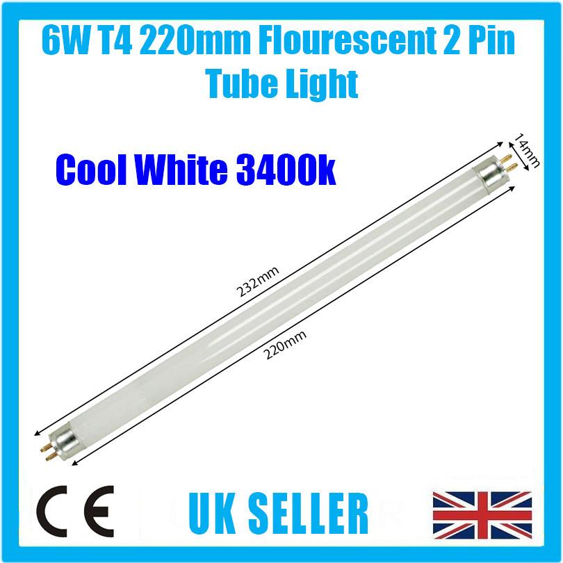 6x 6W T4 232mm Fluorescent Tube Strip Light Bulb Bright White