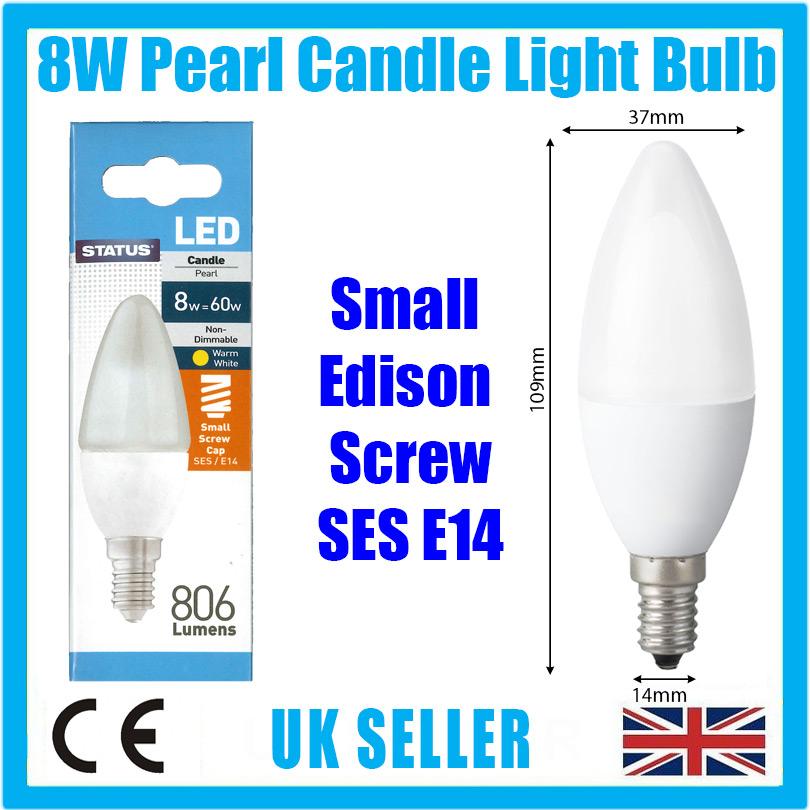 4x 8 W = 60 W Pearl Bougie DEL 806 L SES E14 Petit Edison Vis Ampoule Lampe