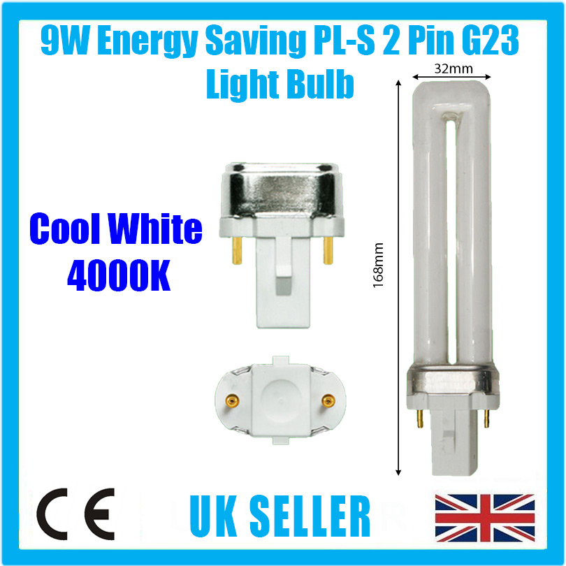 2x 9W G23 2 pin Low Energy CFL PL-S PLS Stick Light Bulb 583 LumensLamp
