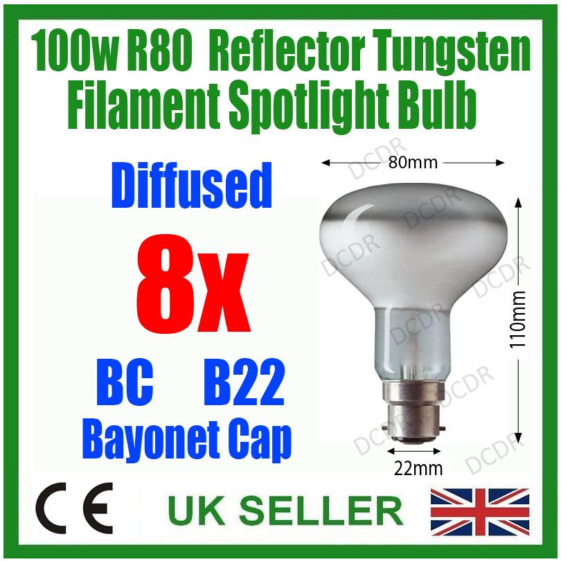 50x 100w r80 spot r flecteur ampoules basse consommation b22 ba onnette ebay. Black Bedroom Furniture Sets. Home Design Ideas