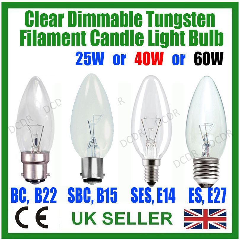 10x Candle Light Bulbs 60w Lamps  ES E27 Clear
