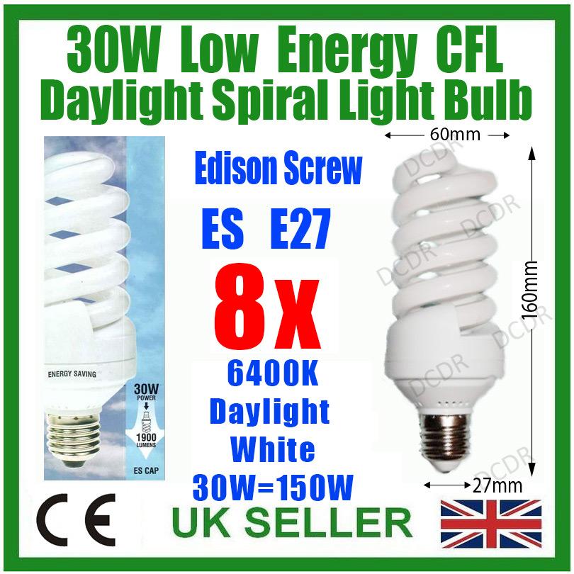 4x 30W Daylight Low Energy CFL SAD 6400K White Light Bulbs ES E27 Lamps =150W