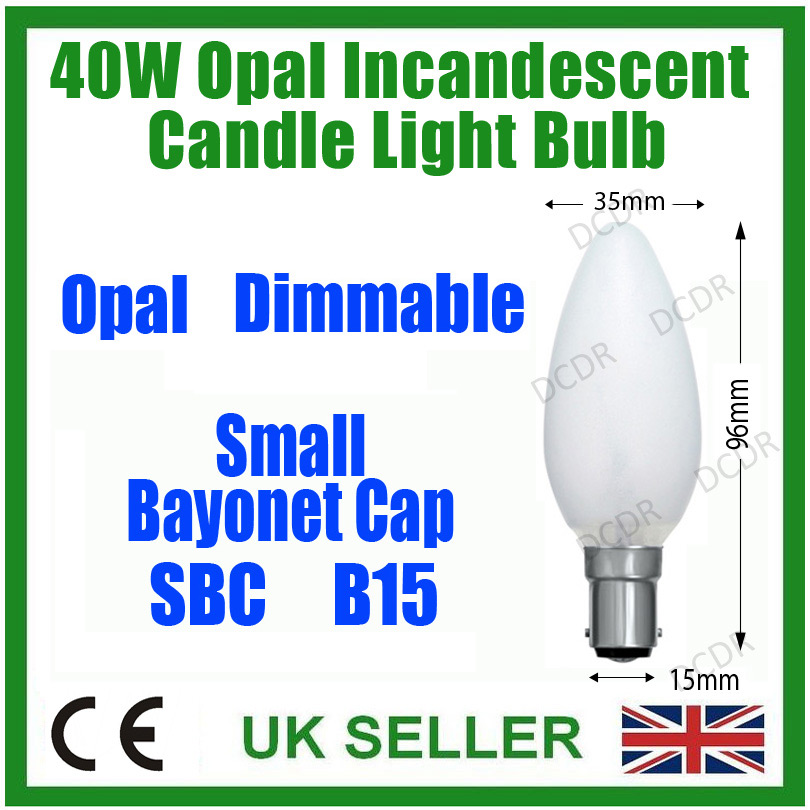 12x 40W Opal//Pearl Dimmable Incandescent Standard Candle Light Bulb SBC B15 Lamp