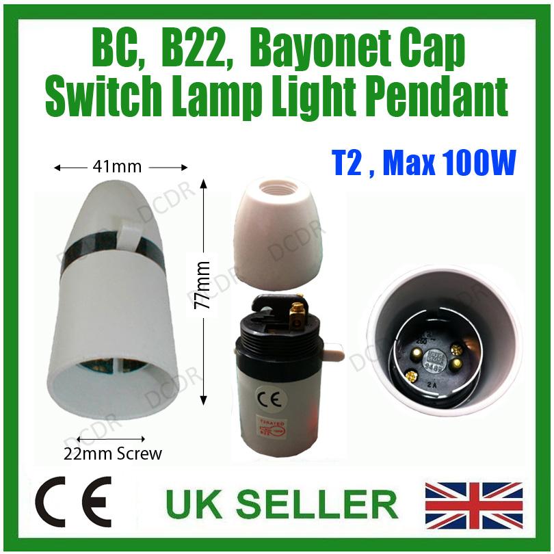 jusqu /'à ampoules 100 W 1x Baïonnette B22 commuté Lampe Titulaire Lumière Pendentif T2 BC