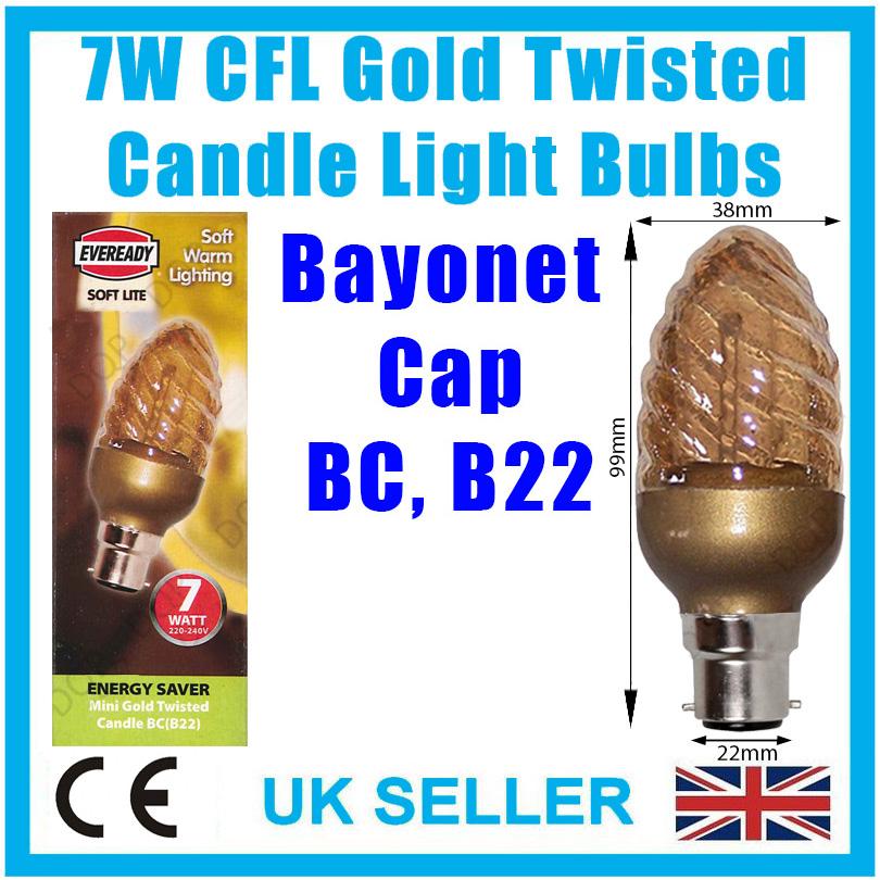 B22 lampe 4x 7W basse énergie cfl gold twisted candle light bulbs baïonnette bc