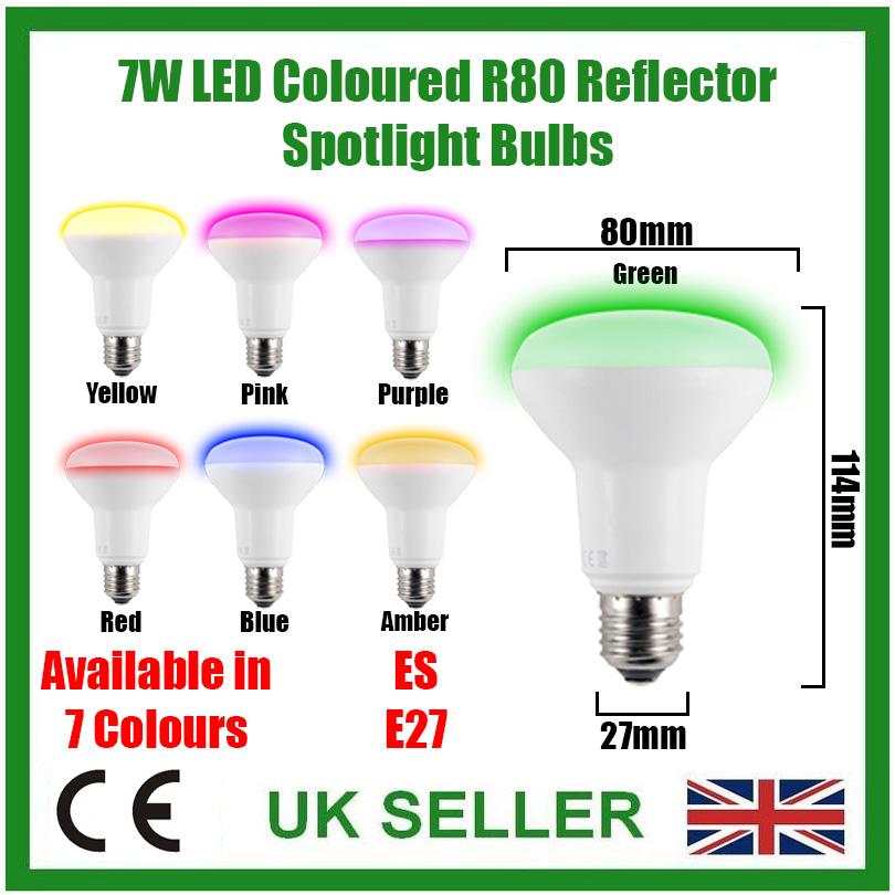 2 x 7w led r80 farbig reflektor disco spot gl hlampen es e27 schrauben lampe ebay. Black Bedroom Furniture Sets. Home Design Ideas