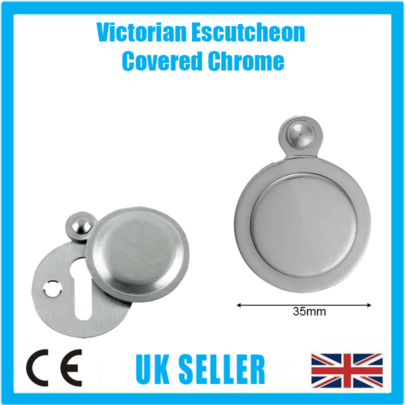 1x 35mm Victorian Round Escutcheon Covered Chrome Keyhole