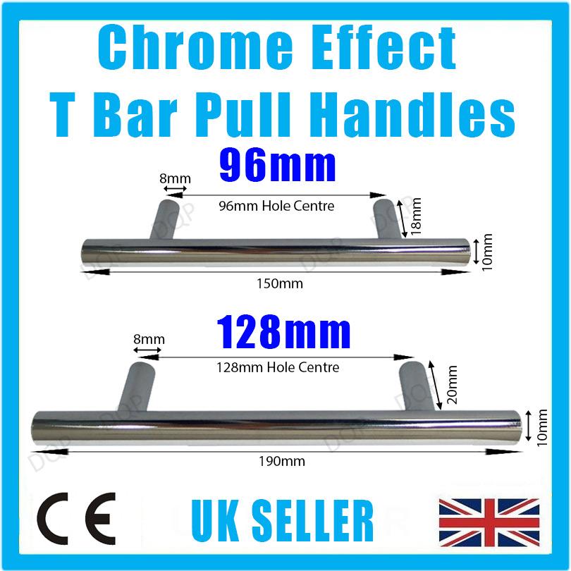 Chrome Effect T Bar Pull Door Handles, Wardrobe Cupboard ...