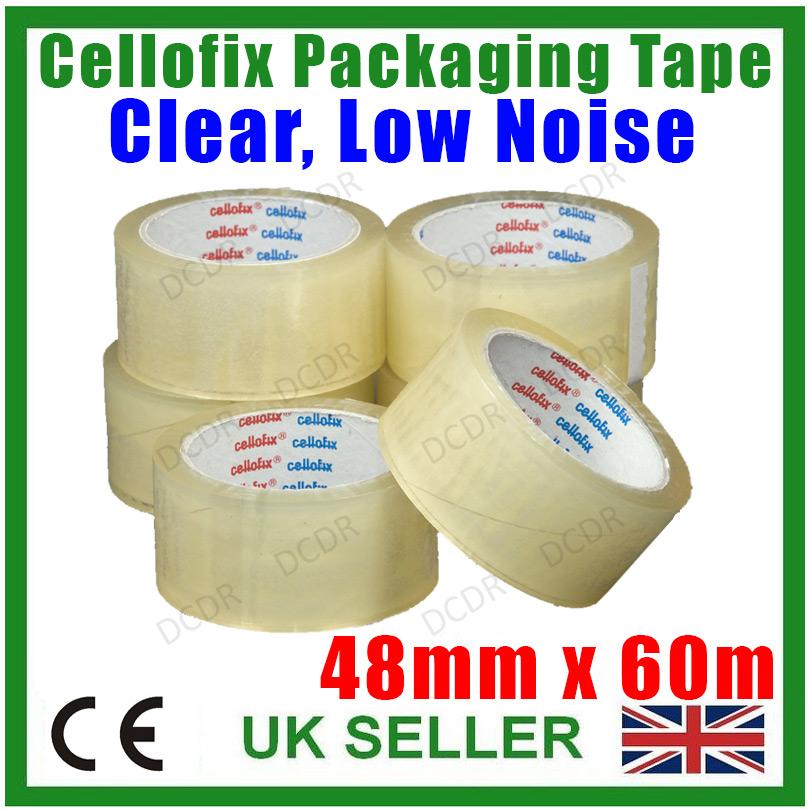 18 x Rotoli di Cellofix trasparente a basso rumore pacco Pack NASTRO 48mm x 66M