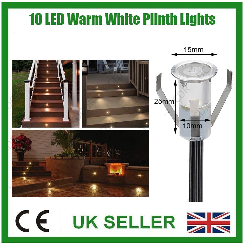 Led Kitchen Garden: 10x IP67 15mm LED Warm White Decorative Plinth Kitchen